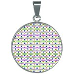 Retro Blue Purple Green Olive Dot Pattern 30mm Round Necklace