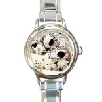 ADORABLE NAPING DALMATION PUPPIES ROUND ITALIAN CHARM WATCH