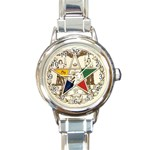 ORDER OF THE EASTERN STAR ROUND ITALIAN CHARM WATCH