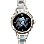 AQUARIUS ZODIAC SIGN (JAN 20-FEB 18) ROUND ITALIAN CHARM WATCH