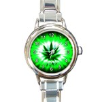 420 MARIJUANA, POT, WEED ROUND ITALIAN CHARM WATCH