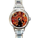 FIREFIGHTER / FIREMAN ROUND ITALIAN CHARM WATCH