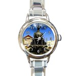 SHARP SMOKING STEAM ENGINE ROUND ITALIAN CHARM WATCH