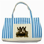 Three donks Striped Blue Tote Bag