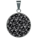 Fancy Floral Pattern 25mm Round Necklace