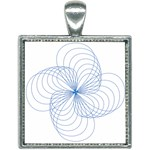 Spirograph Pattern Drawing Square Necklace