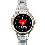 I LOVE CATS / KITTENS ROUND ITALIAN CHARM WATCH