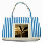 bottle nose Striped Blue Tote Bag