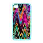 Multicolored Wave Distortion Zigzag Chevrons 2 Background Color Solid Black iPhone 4 Case (Color)