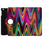 Multicolored Wave Distortion Zigzag Chevrons 2 Background Color Solid Black Apple iPad Mini Flip 360 Case