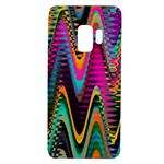 Multicolored Wave Distortion Zigzag Chevrons 2 Background Color Solid Black Samsung Galaxy S9 TPU UV Case