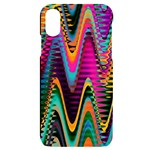 Multicolored Wave Distortion Zigzag Chevrons 2 Background Color Solid Black iPhone X/XS Black UV Print Case