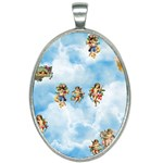 clouds angel cherubs  Oval Necklace