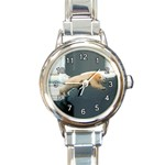BELLY FLOPPING POLAR BEAR ROUND ITALIAN CHARM WATCH