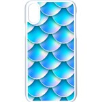 Mermaid Tail Blue iPhone X Seamless Case (White)