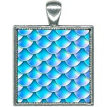 Mermaid Tail Blue Square Necklace