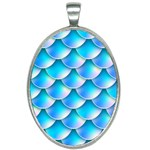 Mermaid Tail Blue Oval Necklace