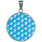 Mermaid Tail Blue 30mm Round Necklace