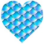 Mermaid Tail Blue Wooden Puzzle Heart