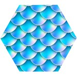 Mermaid Tail Blue Wooden Puzzle Hexagon