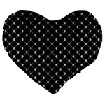 Halloween Skulls Crossbones Large 19  Premium Flano Heart Shape Cushion