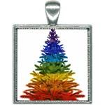 rainbow christmas tree Square Necklace