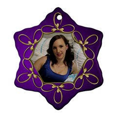 Jane Purple And Gold Snowflake  Ornament (2 Sided) By Deborah Back