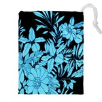 Blue Winter Tropical Floral Watercolor Drawstring Pouch (5XL)