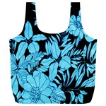Blue Winter Tropical Floral Watercolor Full Print Recycle Bag (XXL)
