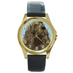 spaniel Round Gold Metal Watch