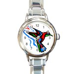 hummingbird Round Italian Charm Watch