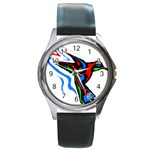 hummingbird Round Metal Watch