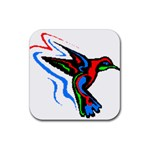 hummingbird Rubber Square Coaster (4 pack)