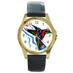 hummingbird Round Gold Metal Watch