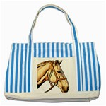 Horse Striped Blue Tote Bag