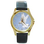 Dove Round Gold Metal Watch