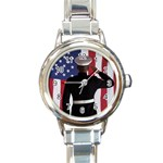 flag Round Italian Charm Watch