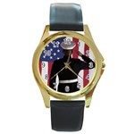 flag Round Gold Metal Watch
