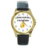 beer beauty large Round Gold Metal Watch