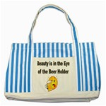 beer beauty large Striped Blue Tote Bag