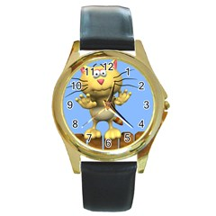 cat on fence for jewelry Round Gold Metal Watch by OBAMASTUFF