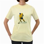 hockey player Women s Yellow T-Shirt