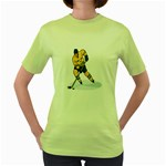 hockey player Women s Green T-Shirt