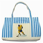 hockey player Striped Blue Tote Bag