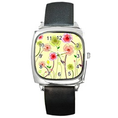 Pastel Flowers Square Metal Watch by classicwatches