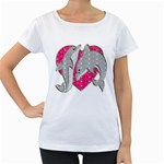Dolphins Maternity White T-Shirt