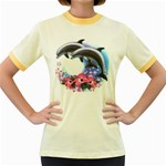 Dolphins Women s Fitted Ringer T-Shirt
