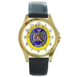 aphi que apo Round Gold Metal Watch