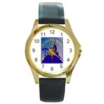 a phi que Round Gold Metal Watch
