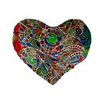 Pop Art - Spirals World 1 Standard 16  Premium Flano Heart Shape Cushions